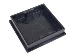 220 to 300 x 80mm Square-to-Round  Recessed Manhole Cover for Patios, Driveways, Block Paving & Flagging