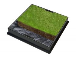 450mm Dia x 80mm GrassTop Square-to-Round Recessed Manhole Cover